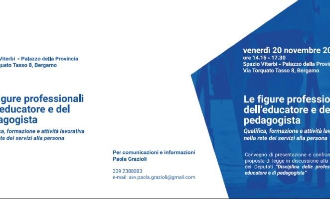 """Venerdì 20 novembre a Bergamo al convegno """"Le figure professionali dell'educatore e del pedagogista"""""""
