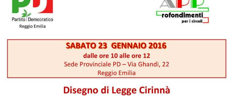 Sabato 23 gennaio nella sede del Pd di Reggio incontro sul ddl Cirinnà sulle unioni civili