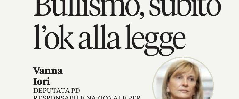"""Sul quotidiano L'Unità pubblicato il mio articolo """"Bullismo, subito l'ok alla legge"""""""