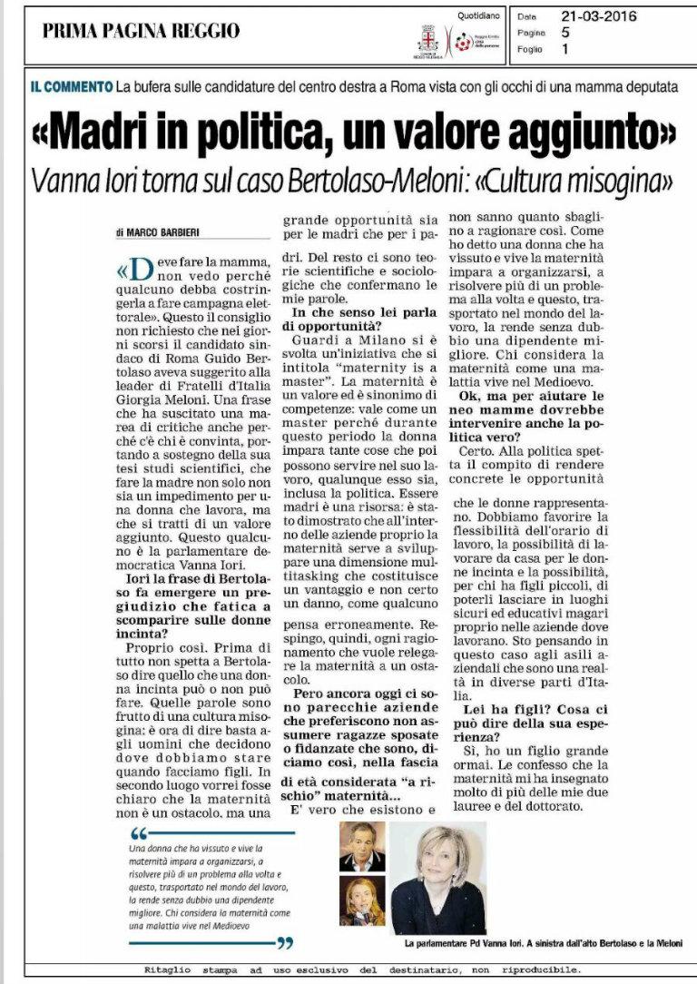 prima_pagina_reggio_intervista_vanna_iori_madri_in_politica_valore_aggiunto_bl