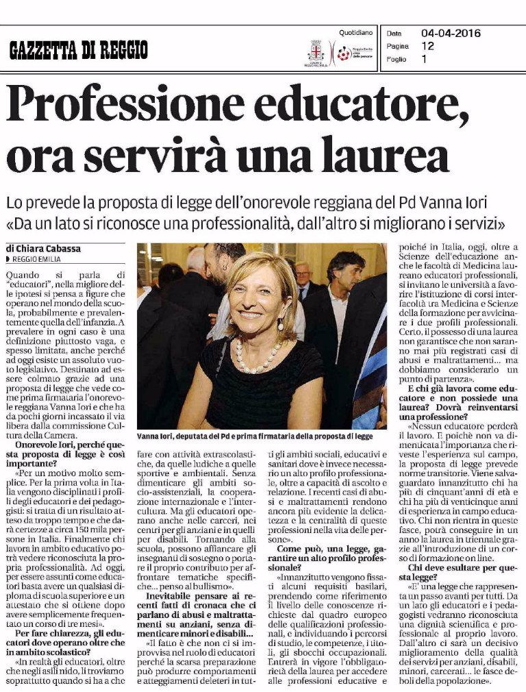 vanna_iori_intervista_educatori_pedagogisti_gazzetta_reggio_4_aprile_2016_bl