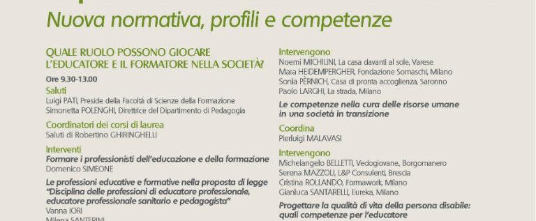 """Lunedì 30 maggio a Milano per """"Le professioni di educatore e formatore: nuova normativa, profili e competenze"""""""