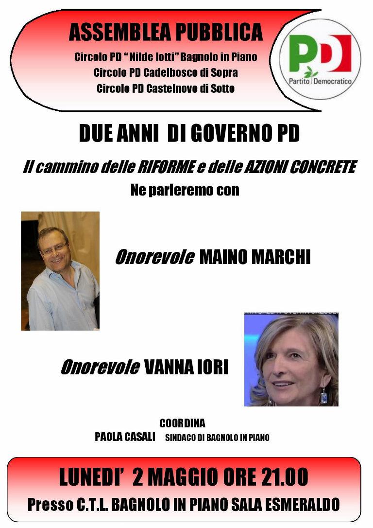 locandina_due_anni_di_governo_pd_bagnolo_bl