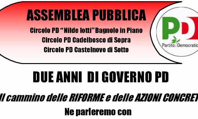 """Lunedì 2 maggio a Bagnolo in Piano per """"Due anni di governo Pd. il cammino delle riforme e delle azioni concrete"""""""