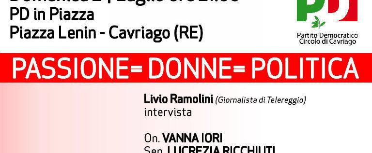 Domenica 24 luglio alla festa del Pd di Cavriago la passione per la politica delle donne amministratrici