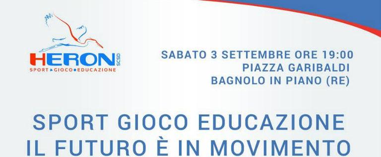 """Sabato 3 settembre alle 19 a Bagnolo per la tavola rotonda """"Sport, gioco, educazione"""""""
