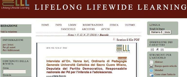 La mia intervista alla rivista Lifelong Lifewide Learning sull'educazione in età adulta
