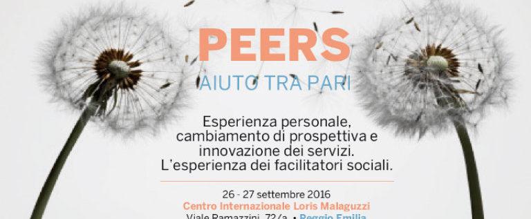 """Lunedì 26 settembre a Reggio per il convegno """"Peers – Aiuto tra pari"""""""