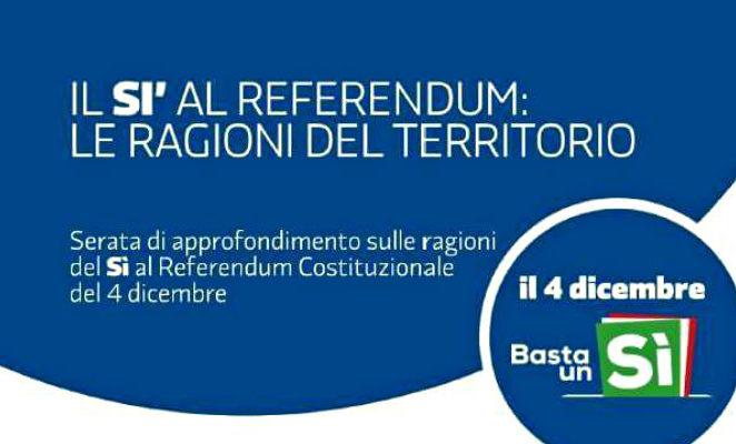 """Venerdì 28 ottobre a San Martino in Rio per """"Il Sì al referendum: le ragioni del territorio"""""""