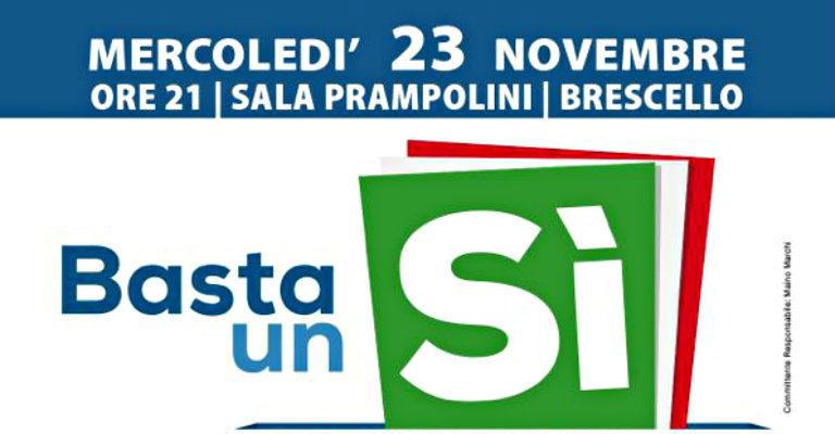 "Mercoledì 23 novembre a Brescello per esporre le ragioni del ""Sì"" al referendum"