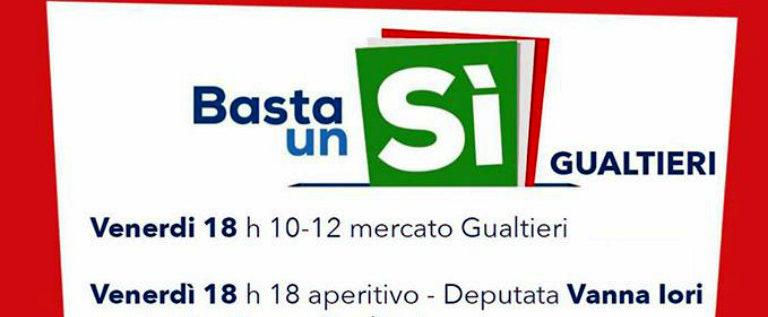 """Venerdì 18 novembre a Gualtieri aperitivo per il """"Sì"""" alla riforma costituzionale"""
