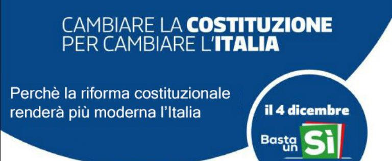 """Lunedì 28 novembre al circolo Pd Reggio 4 l'incontro """"Perché la riforma della Costituzione renderà più moderna l'Italia"""""""
