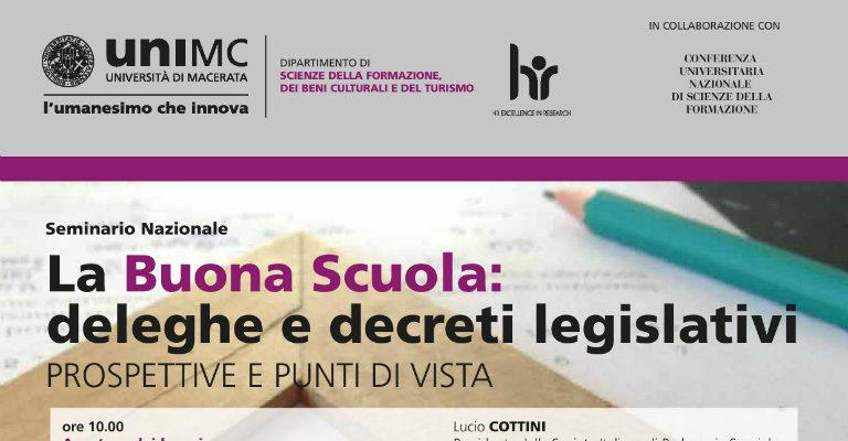 """Lunedì 12 dicembre a Macerata per il seminario """"La Buona Scuola: deleghe e decreti legislativi"""""""