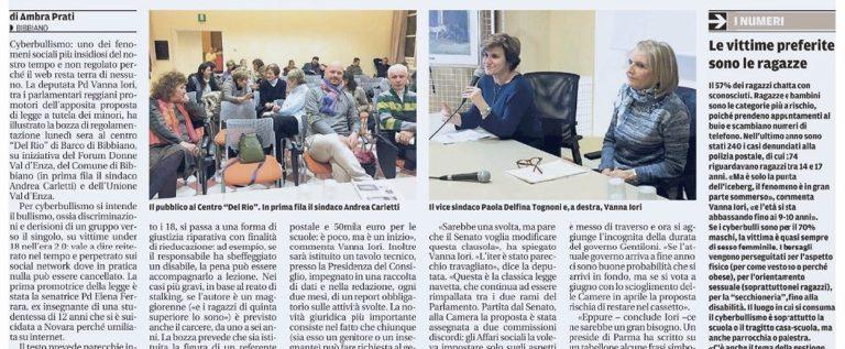 """Sulla Gazzetta di Reggio l'articolo """"Ecco la legge contro il cyberbullismo"""""""