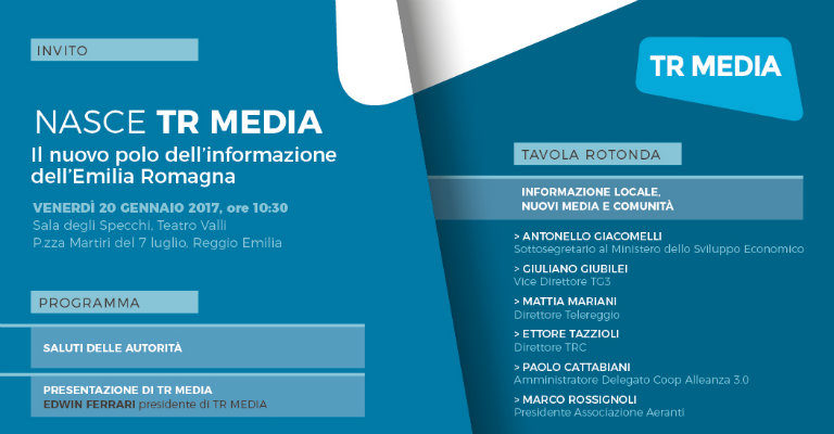 Venerdì 20 gennaio al teatro Valli di Reggio Emilia per la nascita di TR Media