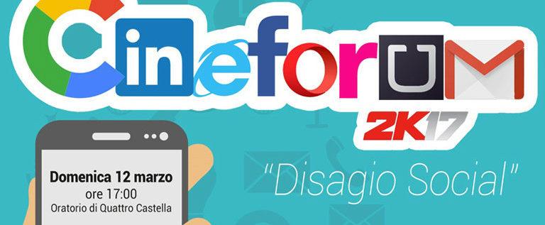 """Domenica 12 marzo alle 17 a Quattro Castella per il cineforum """"Disagio social"""""""