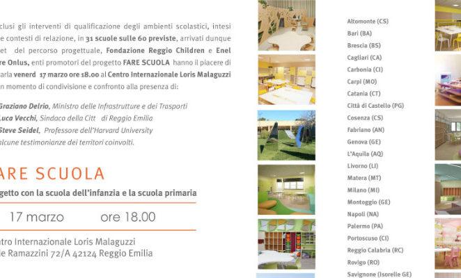 """Venerdì 17 marzo al Centro Malaguzzi per il progetto """"Fare Scuola"""" di Reggio Children"""