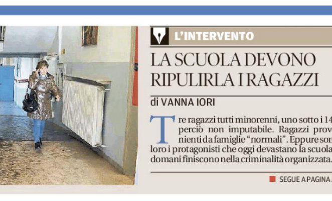 """Il mio intervento sulla Gazzetta di Reggio: """"La scuola la puliscano quei ragazzi"""""""