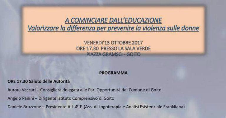 """Venerdì 13 ottobre a Goito per l'incontro """"A cominciare dall'educazione"""""""