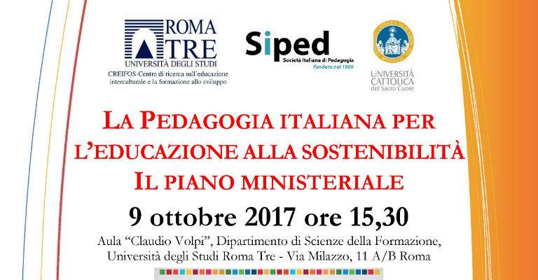 """Lunedì 9 ottobre all'Università Roma 3 per l'incontro """"La pedagogia italiana per l'educazione alla sostenibilità"""""""
