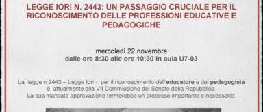 """Mercoledì 22 novembre in collegamento con l'Università di Milano Bicocca per l'incontro """"Legge Iori n. 2443"""""""