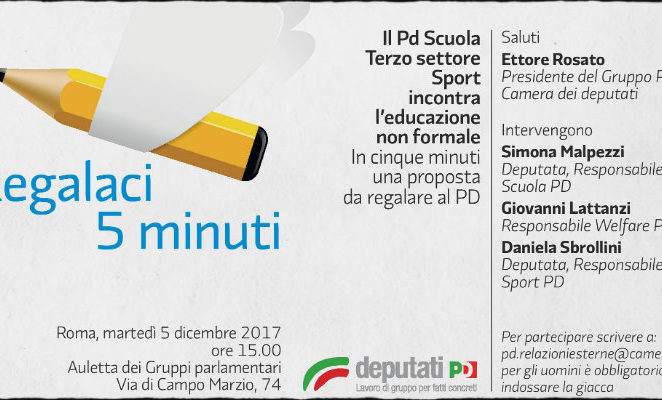 """Martedì 5 dicembre a Roma all'iniziativa """"Regalaci 5 minuti"""" per parlare di educazione non formale e genitorialità"""