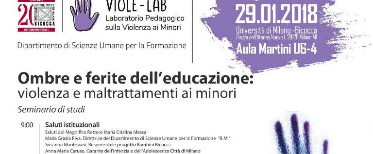 """Lunedì 29 gennaio all'Università di Milano Bicocca per il seminario """"Ombre e ferite dell'educazione"""""""