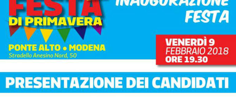 Venerdì 9 febbraio alle 19.30 alla Festa di Primavera di Ponte Alto a Modena