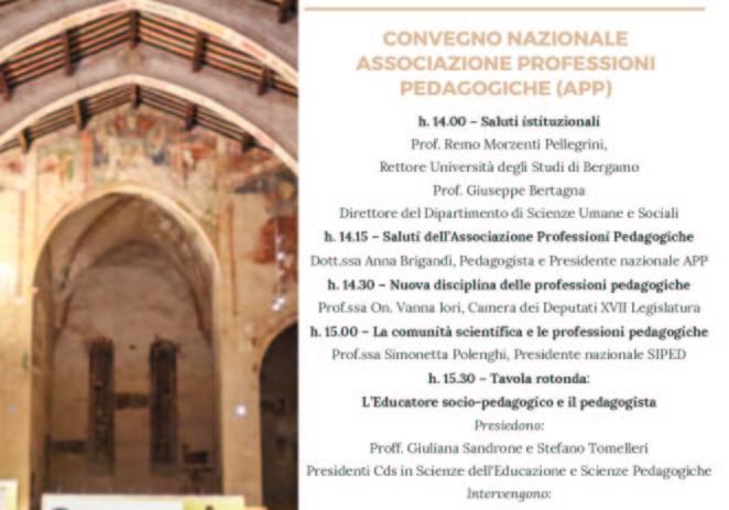 Lunedì 9 aprile CONVEGNO NAZIONALE ASSOCIAZIONE PROFESSIONI PEDAGOGICHE (APP)