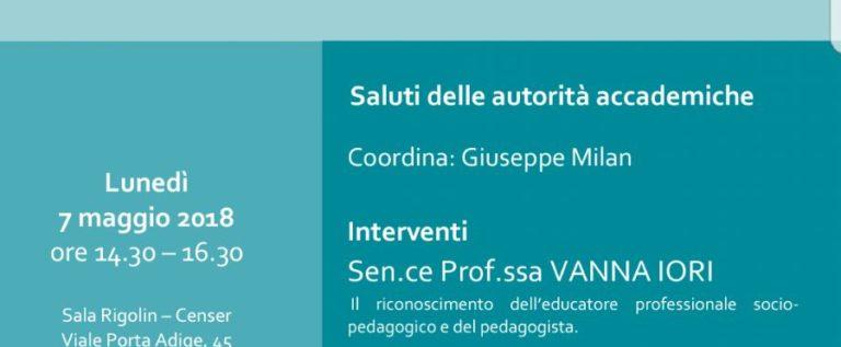 Lunedì 7 maggio: incontro all'Università di Padova sulla nuova legge sulle professioni educative