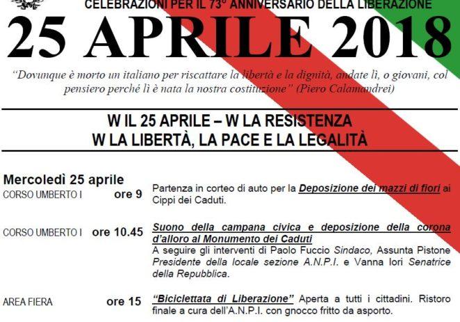 Mercoledì 25 aprile: celebrazioni per il 73°anniversario della Liberazione