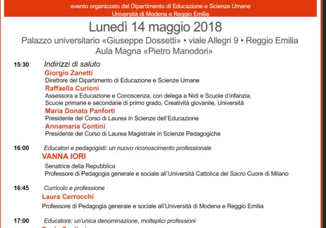 Lunedì 14 maggio – Le nuove professioni educative e pedagogiche