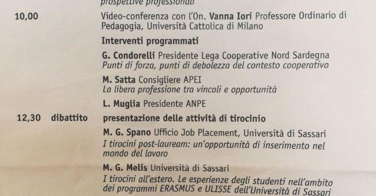 Venerdì 10 maggio – L'educatore professionale: quali prospettive?