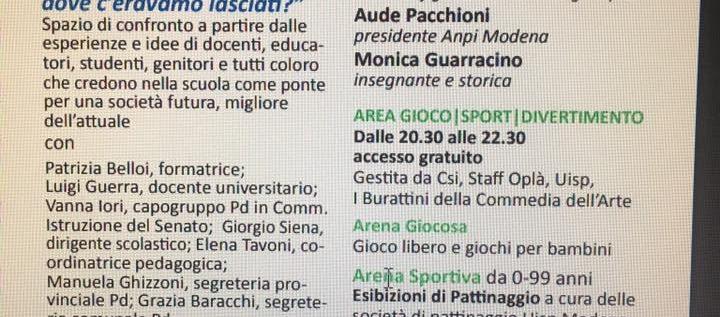 13 settembre – Forum scuola alla Festa dell'Unità di Modena