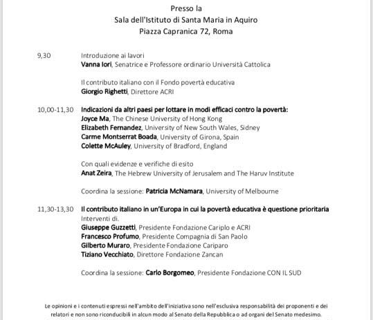 10 ottobre – Misure efficaci contro la povertà: Italia e altri paesi a confronto