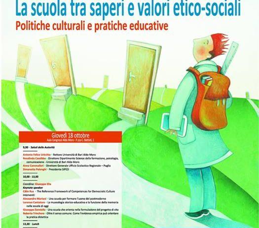 18 ottobre – La scuola tra saperi e valori etico-sociali