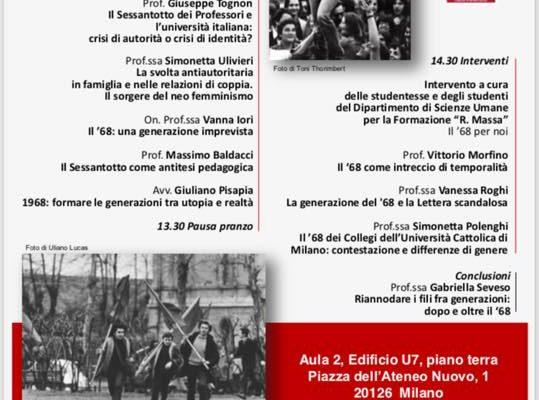 12 Novembre – Generazioni e magistralità dopo il '68