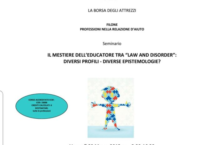 "29 Marzo – Il mestiere dell'educatore tra ""law and disorder"""
